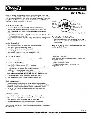 Digital Timer Instructions Pre-2013